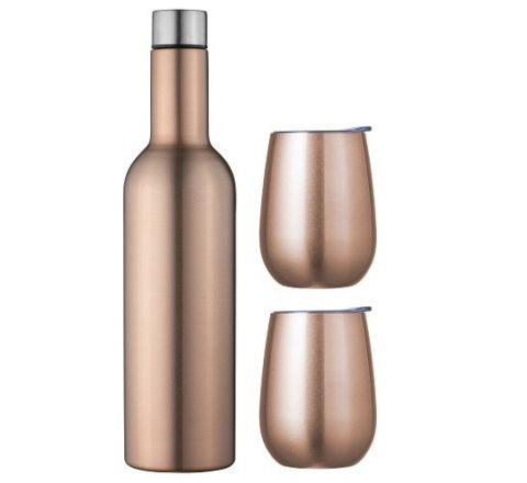 Double Wall Insulated Wine Traveller Set Rose Gold SKU - 13253