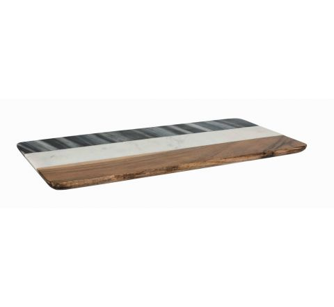 Peer Sorensen Black & White Marble With Acacia Wood Rectangular Board 40.5cm x 20.5cm - SKU 74326
