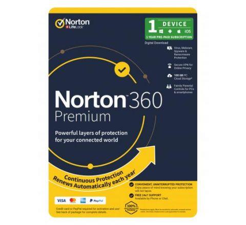 Norton Security 360 Premium 1 Year 1 Device - SKU 21396429