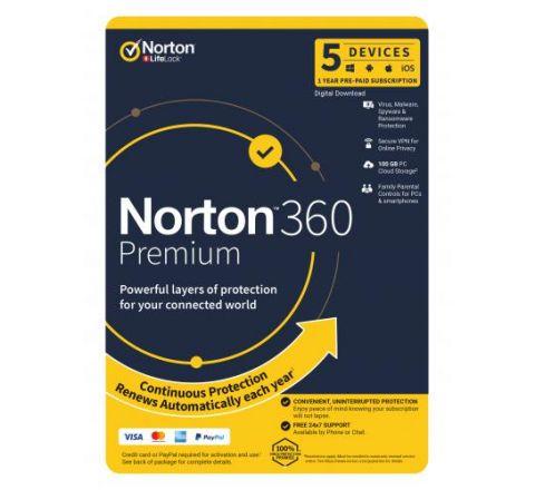 Norton Security 360 Premium 1 Year 5 Devices - SKU 21396493