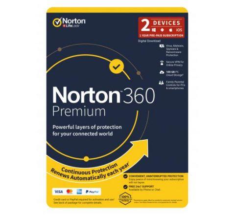 Norton Security 360 Premium 1 Year 2 Devices - SKU 21396514