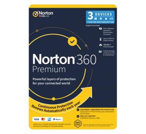 Norton Security 360 Premium 1 Year 3 Devices - SKU 21396560