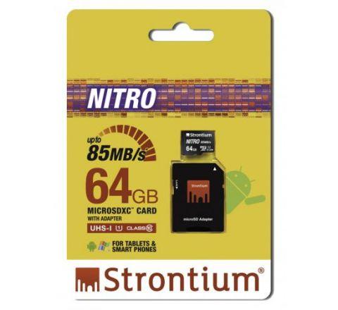 Strontium NITRO 64GB MicroSD Card - SKU SRN64GTFU1QA
