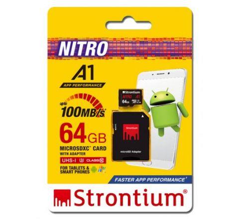 Strontium NITRO 64GB MicroSD Card - SKU SRN64GTFU3A1A