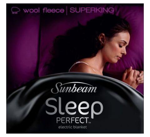 Sunbeam Sleep Perfect® Super King Bed Wool Fleece Heated Blanket - SKU BL5681
